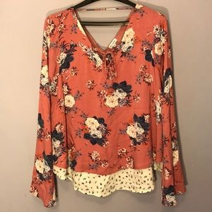 Cute Floral Blouse, Lace Up, Bell Sleeves!